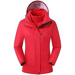 Eono Essentials Chaqueta Para Mujer 3 En 1 Color Rojo Oscuro Impermeable