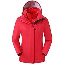Eono Essentials - Chaqueta para mujer 3 en 1 con capucha fija (rojo oscuro, XL)|Chaqueta impermeable mujer