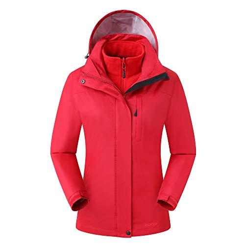 Amazon Marke: Eono Essentials Damen 3-in-1-Jacke mit fester Kapuze (Dunkelrot, L)|Wasserdicht | Fleecejacke damen|Winterjacke damen Kapuzen Sport Jacke