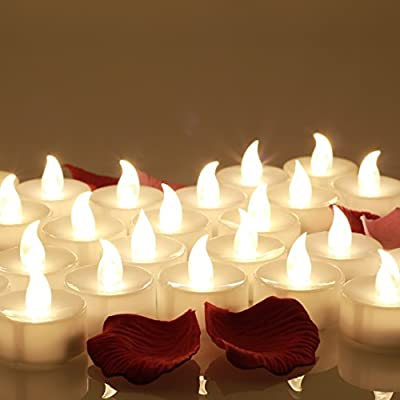 OMGAI 24 pcs LED Tea Lights Candles Battery Operated Candles Unscented Flameless Tealight White Bright Flickering 60+ Hours of Lighting Electric Fake Candle for Home Christmas Decorations by OMGAI