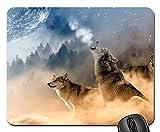 Gaming-Mauspads, Mäusematte, Wölfe Wolf Howling Moon Stars Night Wild