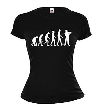 Girlie T-Shirt The Evolution of violin-XS-Black-White