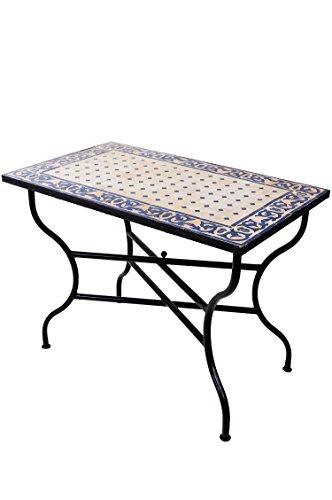 ORIGINAL Marokkanischer Mosaiktisch Gartentisch 100x60cm Groß eckig klappbar | Eckiger klappbarer Mosaik Esstisch Mediterran | als Klapptisch für Balkon oder Garten | Fes Natur Blau 100x60cm