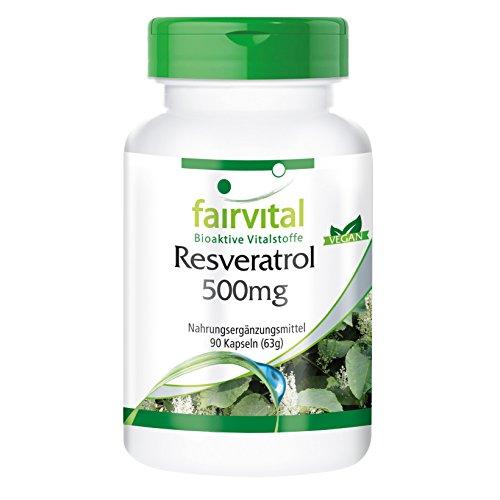 Resveratrol 500mg 90 Kapseln - Resveratrol gilt gemeinhin als Wirkstoff des Rotweins - Resveratrol hat ein hohes Redoxpotenzial und ist also ein guter Radikalfänger.
