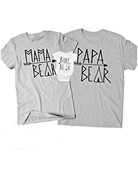 Juleya Camiseta a juego con la familia Camiseta con estampado de oso Camiseta con estampado de papá a mamá