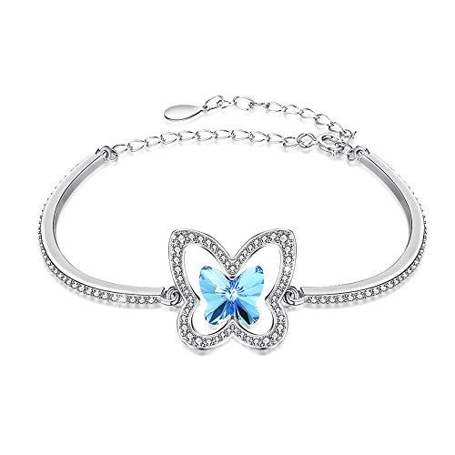GLEEZZMK 14K Rose Gold Blume Stein Kristall Armband für Frauen Schmuck handgefertigt