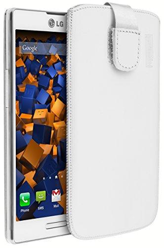 mumbi ECHT Ledertasche LG P760 Optimus L9 Tasche (Lasche mit Rückzugfunktion) weiss