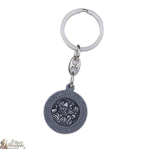 Porte-clés St Christophe métal Antique avec effigies - voiture - moto - avion -