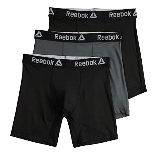 Reebok 3 Pack Performance Boxer Briefs Men - Big & Tall - Black/Grey Big & Amp