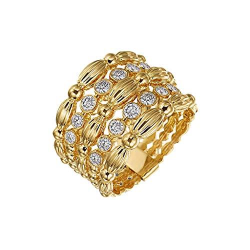 UINGKID Schmuck Damen Ring Edle Gold Hohl Diamant Ring Damen Ring Schmuck