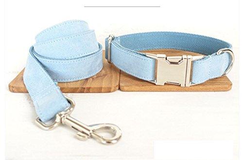 Maycong Hunde Geschirre Haustier-Nette Justierbare Weiche Hundehalsband-Leine-Klage (Hellblau)