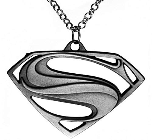 Superman Halskette Superhelden Simbolo Superhelden Medaillon Hero Film Verkleidung Halloween Karneval Kinder Cosplay Antik Silber (Superman Idee Kostüm)