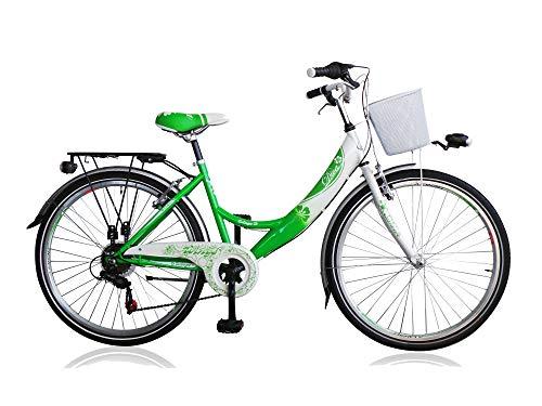 """Unbekannt 24\"""" 24 Zoll Kinder City Fahrrad Kinderfahrrad Cityfahrrad Citybike Mädchenfahrrad Rad Bike 6 Gang Shimano Diva Grün"""