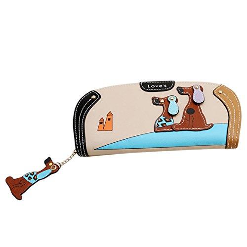 ODN Cartoon Lange Geldbörse Hund Reißverschluss PU Geldbeutel Portemonnaie Mappen Handhandtasche der Frauen (Hund Geldbörsen Handtaschen)