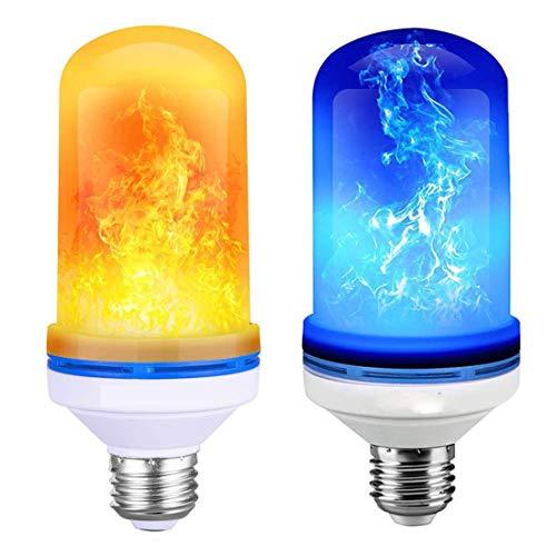 Flamme Glühbirne, Blau + Gelb Flamme Licht LED Lampe Flamme, Flackerlicht E27 mit Feuer Effect Birne für Halloween, Weihnachten, Haus, Restaurants, Bar Party und Festdekorationen (2 Stück)