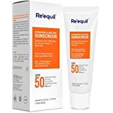 RE' EQUIL Oxybenzone and Zero-Omc Sunscreen for Oily, Sensitive and Acne Prone Skin, SPF 50 PA+++ - 50 g