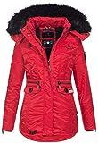 Navahoo Damen Winter Jacke Parka Teddyfell Winterjacke Kunstfell Mantel B615 [B615-Schatz-Rot-Gr.XS]