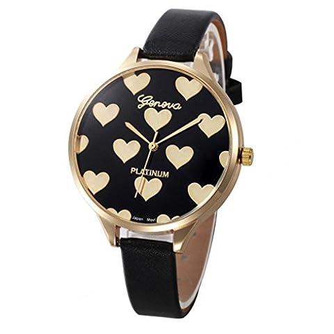 Montres femme pas cher amour Checkers décontractés PU cuir Analogique de luxe Montre à quartz (Rouge) (Noir)