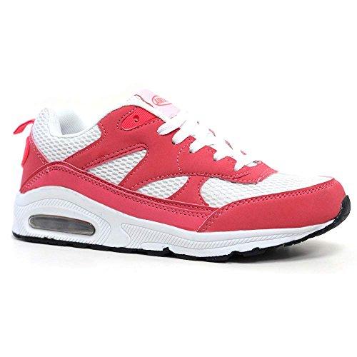 Tech Air-Scarpe da corsa da donna, con anti-Shock per scarpe da Fitness, palestra, sport, taglia 4-8 Coral / Bianco