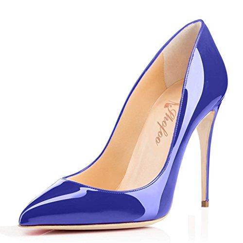 SHOFOO - Femmes - Escarpins - Cuir synthétique - Plusieurs coloris - Talon aiguille - Bout pointu fermé Bleu