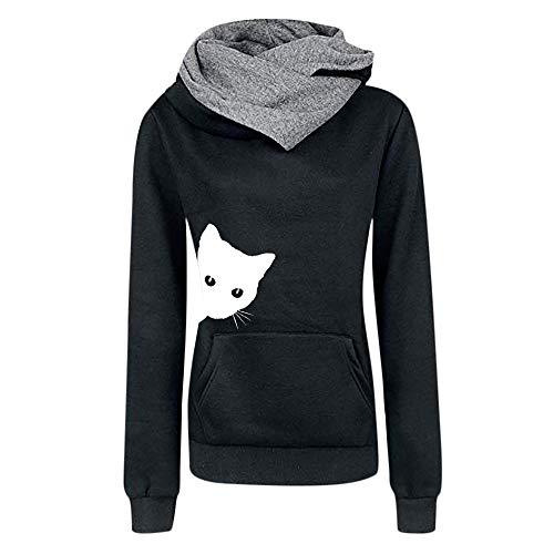 UJUNAOR Damen-Pullover mit Katzendruck und Kapuze Frühling Lässig -