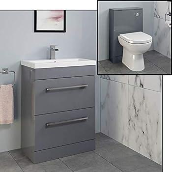 Aurora Bathroom 600mm Drawer Vanity Unit Basin & Toilet Furniture Set WC Modern Gloss Grey