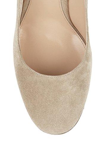 EDEFS Femmes Artisan Fashion Escarpins Unis Classiques Uniques Bout Ronds Travail Bureau Chaussures à Talon Carré de 100mm Chameau
