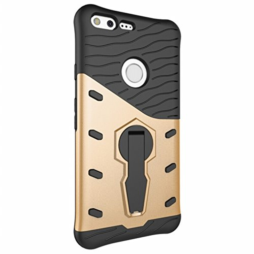 Für Google Pixel XL Armor Cover, 2 In 1 Durable TPU + PC Heavy Duty 360 ° Drehbarer Stand Dual Layer Shockproof Case Cover ( Color : Silver ) Gold
