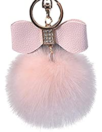71f4bd5832 Diamond Bowknot Plush Ball Keychain, Vneirw artificiale pelliccia di  coniglio portachiavi portachiavi per borsa auto