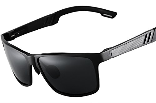 Blasea Wayfarer Stil Metallrahmen polarisierte Sonnenbrille Herren Damen 217 Schwarz