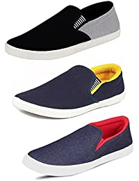 Tempo Men's Combo Pack Of 3 Loafers (SLV GRY, SLV YLW & DNM LOAFERS)