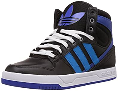 adidas Originals Boy's Court Attitude K Black, Blue and White Leather Sneakers  - 3 UK/India (35.5 EU)