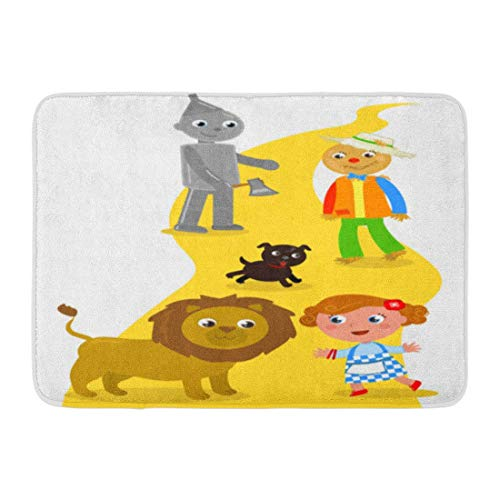 LIS HOME Badteppich-Charaktere gelber Ziegelstein Der Zauberer von Oz Dorothy mit ihrer Hundevogelscheuche und -Zinnmann trifft Löwe-Straßen-Kind-Badezimmer-Dekor-Teppich