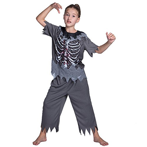 YouN Polyester Skull Zombie Costume Boy Halloween Clothes for Cosplay Decor (S)