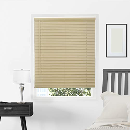 Chicology Horizontal Venetian Slat Window Shade Cordless 1-Inch Vinyl Mini Blinds Gloss Cappuccino 35 X 64, 35
