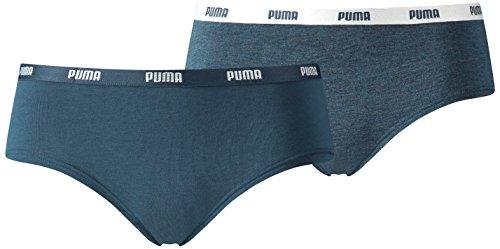 PUMA Damen Unterwäsche Iconic Hipster 2P, Blau (Dark Denim), XS