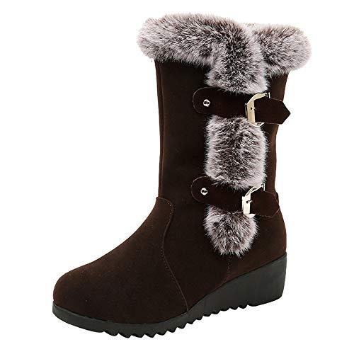 MYMYG Schnee Stiefel Frauen Wildleder Einfarbig Runde Zehe Wedges Schuhe Halten Warme Schnalle Riemen Stiefel Warme Pelz Gefüttert Baumwolle Winterschuhe Behaarte Flache Booties