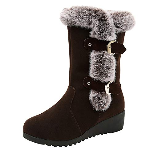 (Beikoard Frauen Winterstiefel Schneeschuhe weibliche Stiefel Booties Damen Runde Zehe Keile Schuhe Keep Warm Schnalle Schneeschuhe)