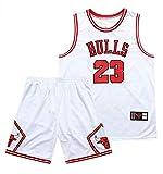 QIXUN T-Shirt da Basket Uomo e Unisex - Maglia da Basket Estiva NBA 23# Toro Michael Jordan, Tessuto Fresco e Traspirante, Top Pantaloncini (Bianco Nero)