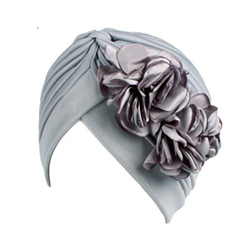 RQWY Headwear Vintage Große Doppel Blume Stirnbänder Für Frauen Weibliche Mode Turban Caps Bandanas Hut Baumwolle Dressing Chemo Caps Indien Kopfschmuck (Indien Kostüm Weiblich)