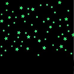 100piezas brilla en la oscuridad estrellas pegatinas de pared Arte DIY pared vinilo luz verde luminoso adhesivo decorativo para pared murales para salón o dormitorio adolescentes niños los niños habitación bebé decoración