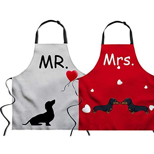 Mrs Und Mr Kostüm White - Nopersonality Schürzen-Set für Paare, Geschenk für Hochzeit, Jahrestag, Ehemann, Ehefrau, Hauseinweihung, Küche, Geschenk, Baumwolle, Mr & Mrs -Red & White, M
