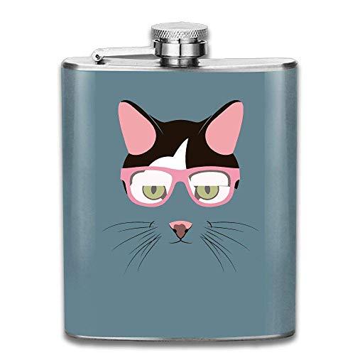 Sdltkhy Pinky Sunglasses Tiger Cat Portable Stainless Steel Flagon Whiskey Wine Bottle