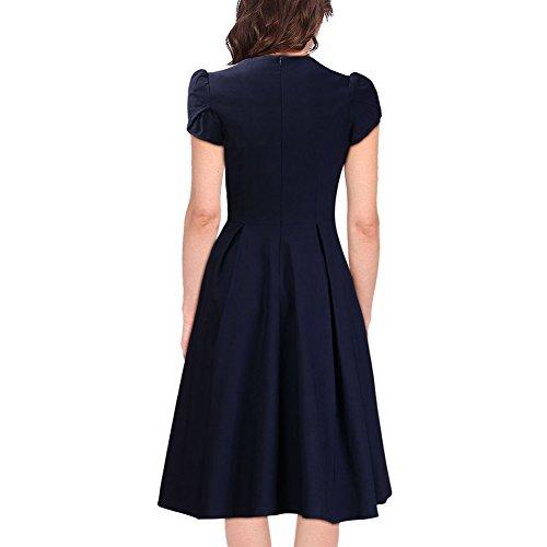 WintCO Damen Business Kleid V-Ausschnitt Empirie Sommerkleid Buero Midikleid Elegant Dunkelblau