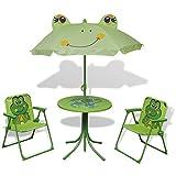 FESTNIGHT Set da Bistrot per Bambini da Esterni con Ombrellone/Mobili da Giardino per Bambini Verde