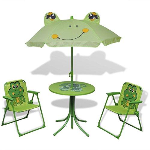 Tidyard Garten Sitzgruppe für Kinder mit Sonnenschirm Kindersitzgruppe Garten Kindermöbel Frosch-Muster