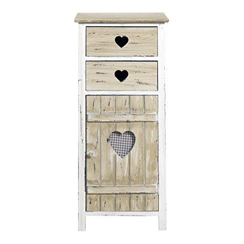 Rebecca srl armadietto cassettiera mobile bagno 2 cassetti 1 anta rebecca amore legno bianco naturale country rustico cucina camera (cod. re4415)