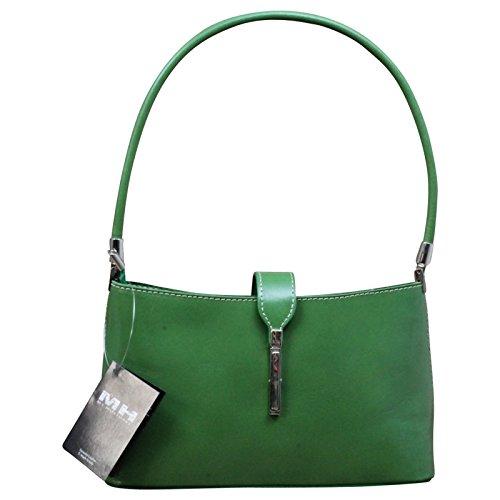 Made In Italy Borsa Da Donna Borsa A Spalla Tracolla Pochette In Vera Pelle, Colore: Verde Testa Di Moro