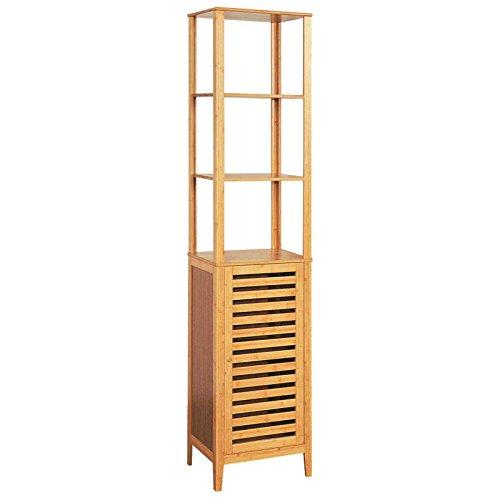 Hochschrank Badezimmer-Regal Bambus Badschrank mit Tür und Ablagen (Holz-schrank Traditionelle)
