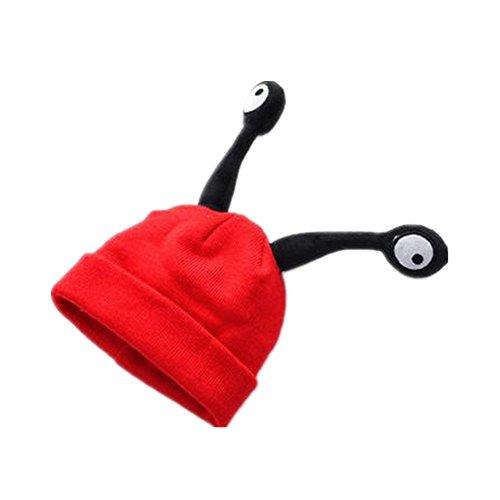 MISITE Nette Insekten-Antennen-Hut-Kinder Samt-Hut Herbst-und Winter-Jungen-Mädchen-strickende Kappe (Rote)